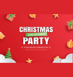 merry christmas party invitation card in paper vector image