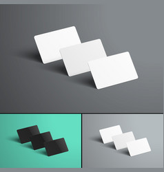 mockup of three gift or bank cards with shadows vector image