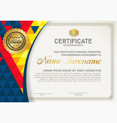Modern certificate template with polygon texture vector