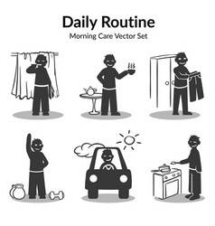 Morning daily routine collection vector