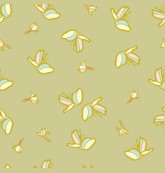 mustard floral seamless pattern with lily vector image