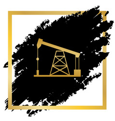 Oil drilling rig sign golden icon at vector