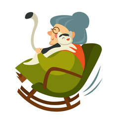 Old woman on retirement sitting in wooden rocking vector