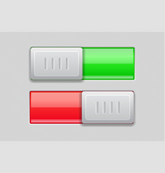 on and off toggle switch buttons red and green 3d vector image
