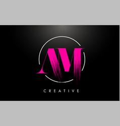 Pink am brush stroke letter logo design pink vector
