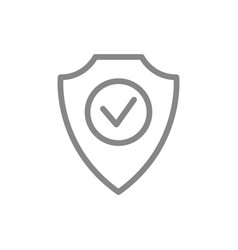 Protective shield with check mark line icon vector