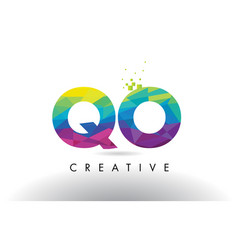 qo q o colorful letter origami triangles design vector image