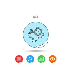 race road icon finishing flag with timer sign vector image
