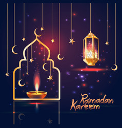 Ramadan kareem islamic with 3d cute vector