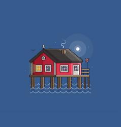 Red fisherman stilt house vector