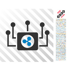 Ripple masternode connections flat icon with bonus vector