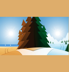 Road and summer or winter vacation destination vector