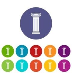 Roman column set icons vector
