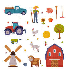 rural building and agricultural objects set vector image