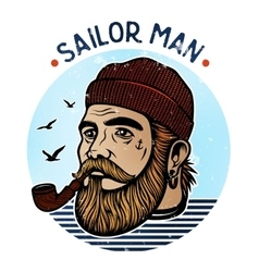Sailor man with pipe vector
