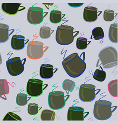 seamless hand drawn coffee cup background good vector image