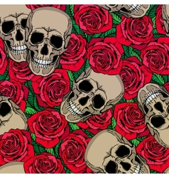 Seamless pattern with skulls and red roses vector