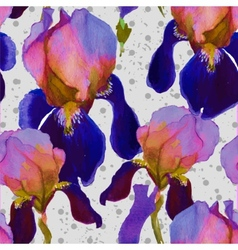 seamless watercolor pattern with iris flowers vector image