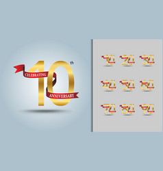 Set of anniversary logotype golden vector