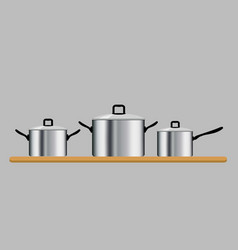 set of three saucepans isolated on gray background vector image