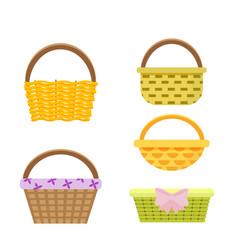 Set wicker baskets in vector
