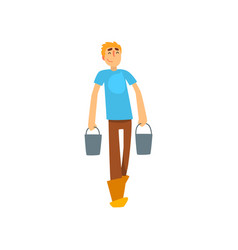 smiling male farmer character with buckets vector image