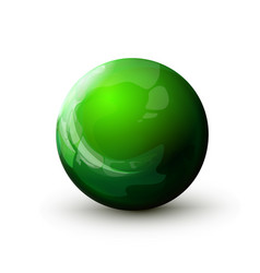 Sphere with reflected light green ball mock up vector