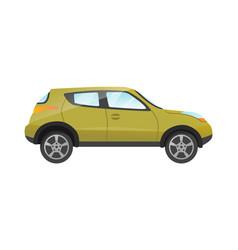 sticker green suv passengers car on white vector image