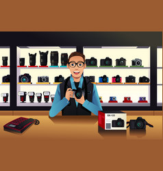 Store owner in a camera store vector