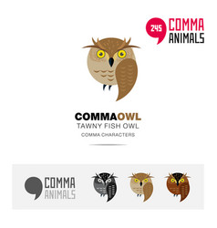 tawny fish owl bird concept icon and logo template vector image