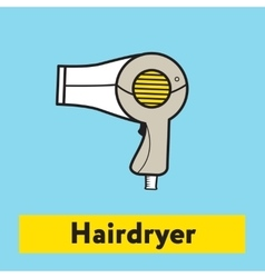The flat icon of hairdryer silhouette on the blue vector