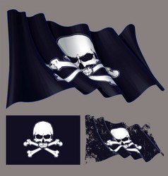 Waving pirate flag jawless skull and bonesxa vector
