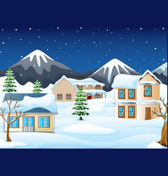 Winter night landscape with mountains and snow cov vector