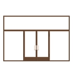Wood Shopfront with Large Black Blank Windows vector image