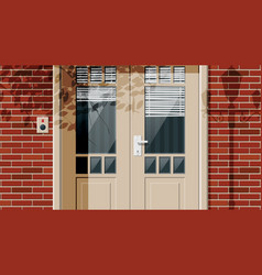 wooden cottage door with windows and window blind vector image