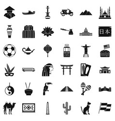 world food icons set simple style vector image