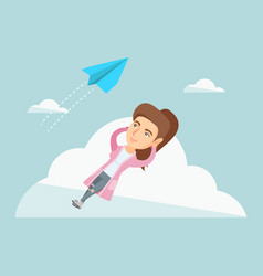 Young caucasian business woman lying on cloud vector