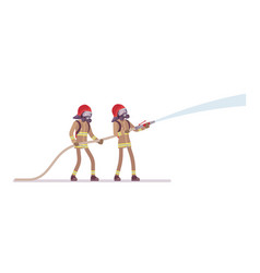 Young male firefighters with water hose vector