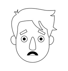Young man cartoon face character expression vector