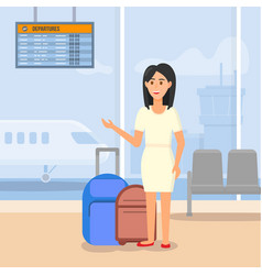 Young woman traveling by airplane waiting flight vector