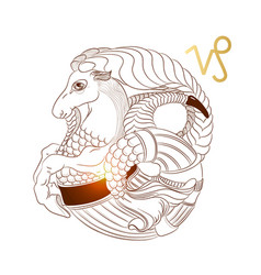 Zodiac sign capricorn isolated on black background vector