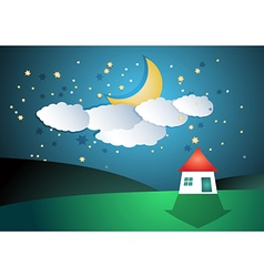 Cartoon landscape with moon and stars vector