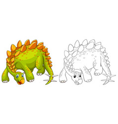 doodle animal outline of dinosaur vector image