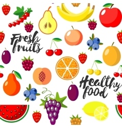 Fresh fruits flat style seamless background vector image vector image