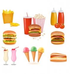 hamburger popcorn set vector image vector image