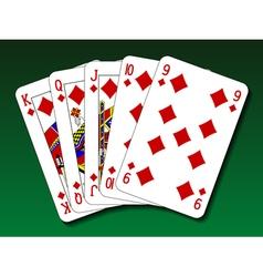 Poker hand - Straight flush vector image vector image