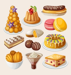 Set of traditional french desserts vector image vector image