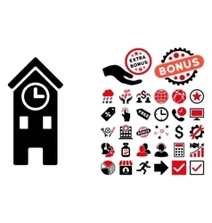 Clock Tower Flat Icon with Bonus vector image vector image