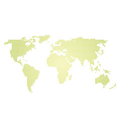 green halftone world map of small dots in linear vector image vector image