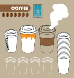 series of paper coffee cup vector image vector image